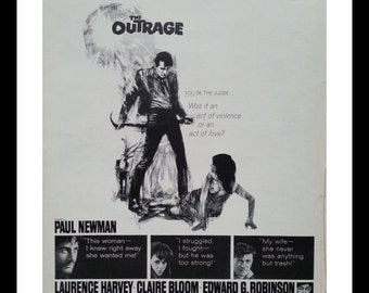 "Movie Poster.  The Outrage.  Paul Newman.  William Shatner ""...act of Violence or Love?""  Western. 60's Movie.  13 x 10.  Ready for Framing."