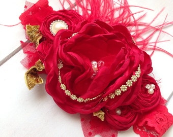 Red Christmas Headband - Baby Headband by Isabella Couture