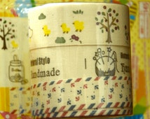A Set of 3 Rolls of Fabric Cotton Tapes: Natural Style Handmade, Tree and animals, Anchor
