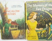 Nancy Drew Mystery Stories. Vintage Hardback Set of Two. Circa 1960 and 1965.  Nursery Decor. Baby Shower Gift. Photo Prop. Library.