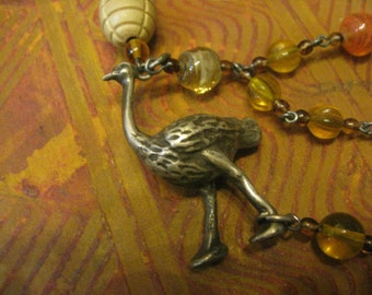 Unique Vintage Guatemalan Chachal Necklace made with 60 year old Solid Silver Ostrich Beads