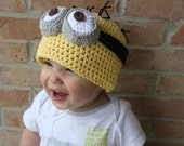 Minion Hat EASY Crochet PDF Pattern - Infant, Child, Teen, Adult Sizes. Sale - Buy 2 patterns, Get 1 FREE.