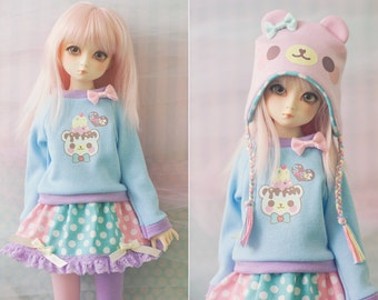 Slim MSD or SD BJD Sweater - Sweet Ice Cream Bear