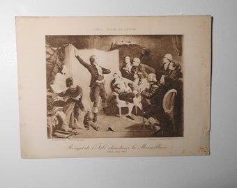 Free shipping-Ancient Art Print, Rouget de L'Isle Singing La Marseillaise, Isidore Pils, Louvre Museum