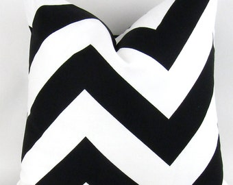 Black Chevron Pillow Cover -ANY SIZE- Black & White Throw Pillow, Large Zigzag, Cushion Cover, Euro Sham,  Zippy Premier Prints, FREESHIP