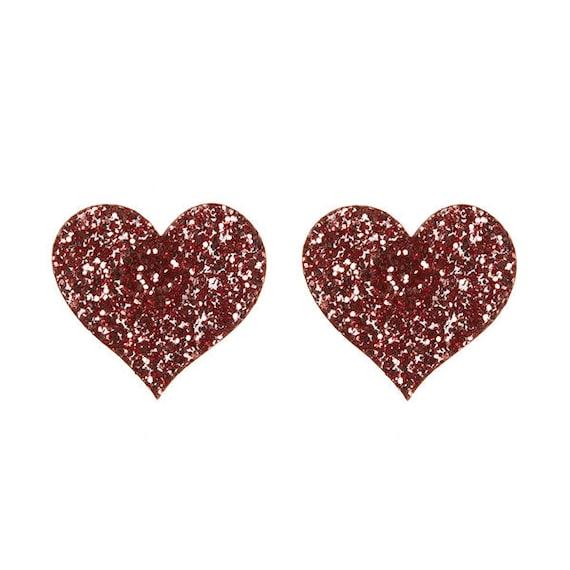 Heart stud earrings - laser cut pink glitter acrylic