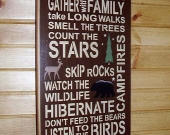 Wood Sign, Cabin Rules, Watch The Wildlife, Cabin, Rustic, Subway, Word Art, Handmade, Word Art