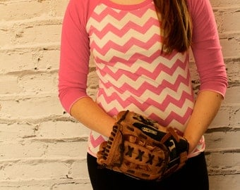 Chevron Bubble Gum pink and White and Hot Pink Knit Raglan Sleeve Shirt From GreenStyle