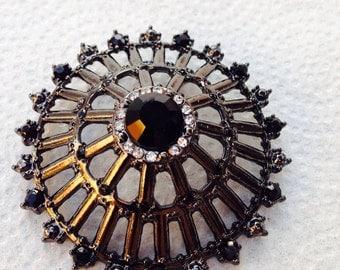 Vintage rhinestone black brooch