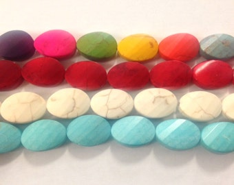 13x18mm oval parallel faceted howlite, 22 beads