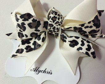 Ivory & Cheetah Print Ribbon Bow Hair Clip, Animal print hair clip, Bow hair clip