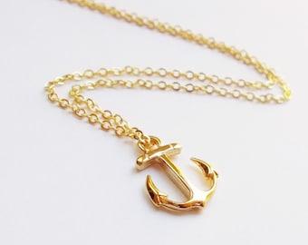 Gold Anchor Necklace - Nautical Necklace