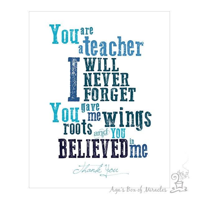 Student Thanking Teacher Quotes: 8x10 Teacher Appreciation Printable JPEG / Thank You Teacher