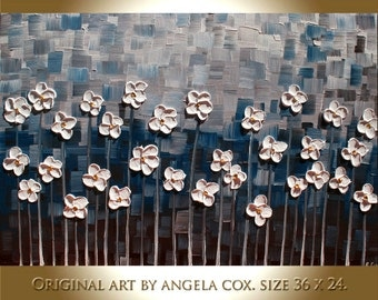 Original Contemporary  Abstract Heavy   Impasto Palette Knife Navy  White Flowers  Painting. Size 36 x 24.
