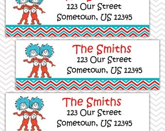 Dr Seuss Thing 1 Thing 2 - Personalized Address labels, Stickers