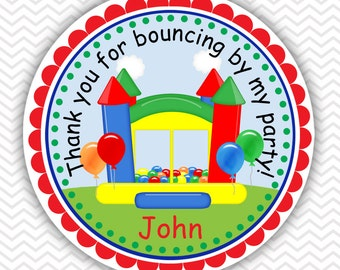 Bounce House Primary Boy - Personalized Stickers, Party Favor Tags, Thank You Tags, Gift Tags, Address labels, Birthday, Baby Shower