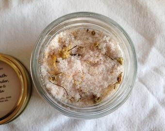 Natural Bath Salts - Lavender, Chamomile & Calendula - Himalayan Salt, Epsom Salts - 200g/500g