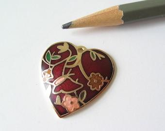 Cloisonne enamel heart charm pendant  25mm
