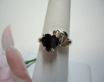 Heart Cut Garnet Ring in Sterling Silver   #1157