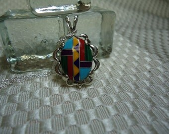 Mosaic Stone Necklace in Sterling Silver   #1172