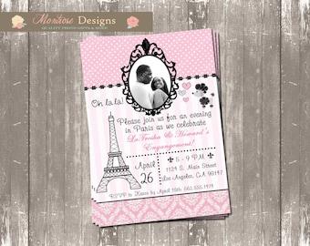 Ooh La La Parisian Bridal Shower/Engangement Party Invite (Pink and Black) DIGITAL FILE