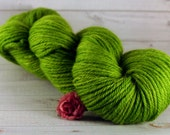 Lime Hand Dyed Yarn, worsted merino wool, green yarn