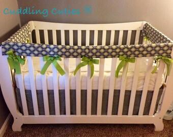 Nursery Bedding Set Free Shipping To USA - Crib Teething Rails, Crib Skirt, Valence and Changing Pad Cover