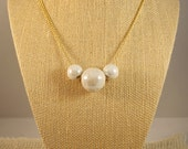 Ceramic White Bead Necklace on Long Golden Chain- Iridescent Pearl Crackle Ceramic Beads