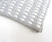 Evening bag Clutch OOAK Hand Knit  Silver and white