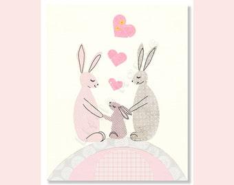 Baby Girl Nursery Prints, Pastel Nursery, Bunnies, Pink Grey Nursery Art, Soft Colors, French Nursery, Rose, Calming
