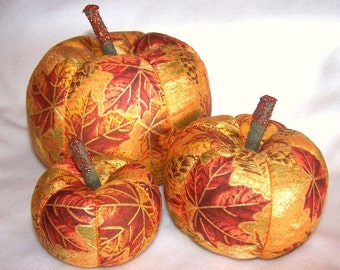 Golden Leaves Family of Fabric Pumpkins FALL Autumn HALLOWEEN THANKSGIVING Decorations