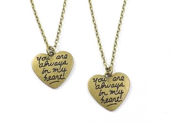 2 always in my heart necklaces boyfriend girlfriend jewelry. Black Bedroom Furniture Sets. Home Design Ideas