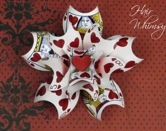 Playing Card Brooch or Hair Accessory - Queen of Hearts Alice in Wonderland - (Large)