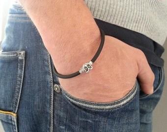 OWL MEN BRACELET, handmade black caoutchouc bracelet, owl bracelet for him, personalized bracelet, simplistic and minimalist men