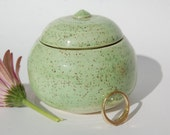 Tiny Pottery Treasure Pot Green Home Decor Made in UK