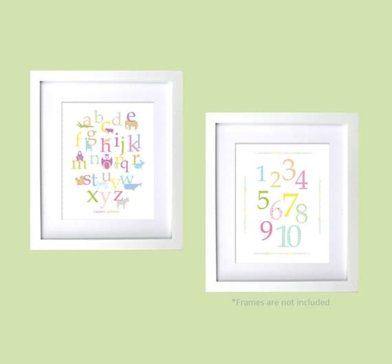 Pastel colors baby girl nursery wall art animal alphabet and bumbers rainbow color kids room children wall prints baby shower gift