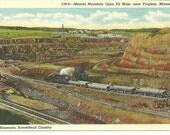 Postcard Minnesota Mesabi Mountain Open Pit Mines near Virginia Mn Vintage Paper
