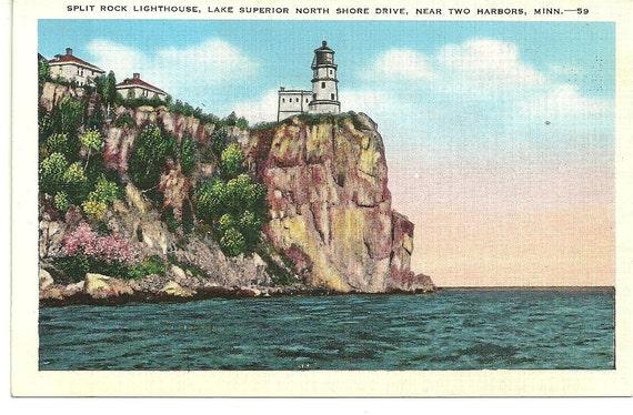 Postcard split rock lighthouse near duluth minnesota lake superior