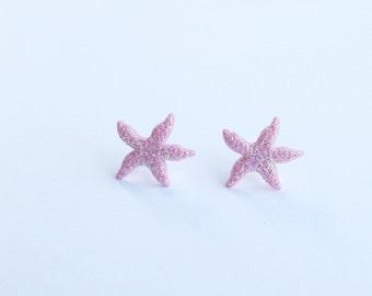 Pink Glitter Star Fish Earrings