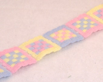 Pastel Rainbow of Stitched Patchwork Ribbon Trim, Pink, Blue, Yellow Squares - BTY - Destash