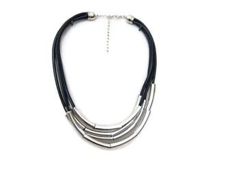 FREE SHIPPING / NECKLACE Silver Layered black leather necklace, String necklace, Modern leather rope necklace