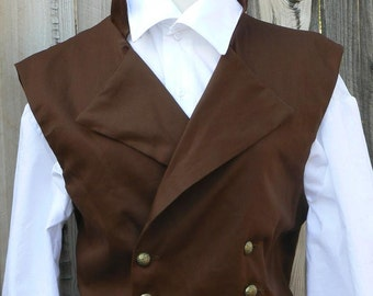 Victorian Mens Cowboy Vest Double Breast Regency Waistcoat Cotton Twill Western Historical