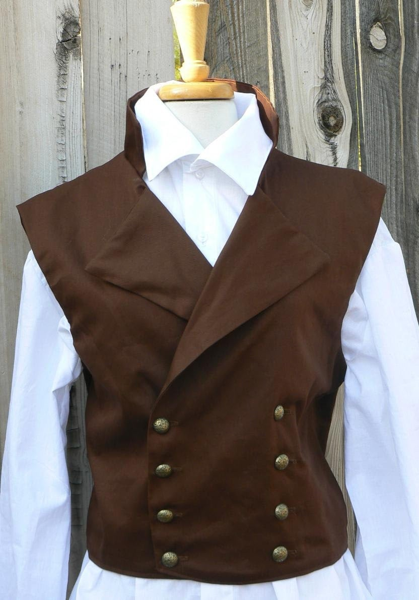 Victorian Mens Cowboy Vest Double Breast Regency Waistcoat