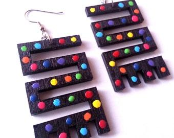 Mini Tetriz Hand Painted Wooden Earrings