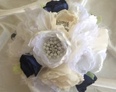 SOLD LeAnn Customer Order:  Fabric Wedding Bouquet, with brooches, mothers wedding dress