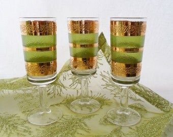 Culver, Starlyte, Set of Three, Cordial, Glasses, Green, Gold, Vintage, 1960'S, Barware, Glassware, 22K Gold, Starlyte-Culver Ltd Glass