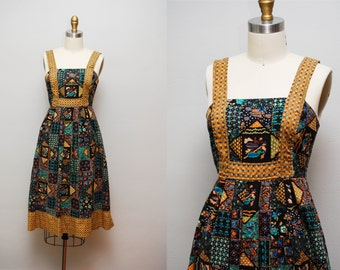 Vintage 70s 'Mosaic Tile' Cotton Sun Dress / NEUSTETERS Printed Day Dress with Scoop Back
