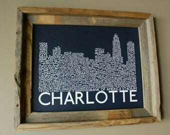 Charlotte Skyline Word Art Print (Dark Blue) - Unframed