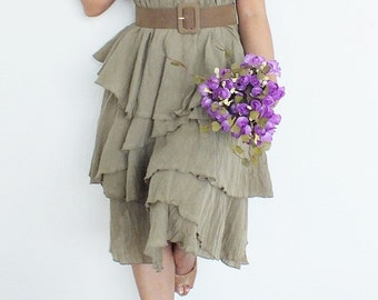 Soft Brown Layer... Maxi Dress Cotton/Party Dress/Evening Dress/Prom Dress