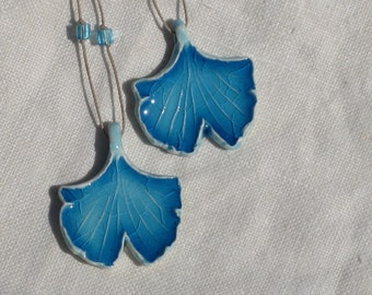 Ginkgo Leaf Pendant           Botanical Jewelry, Turquoise Ginkgo Pendant, Ginkgo Jewelry, Ginkgo Necklace, Ceramic Zen Jewelry, Botanical